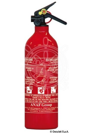 MED-type approved powder extinguisher (Description: 1-kg extinguisher, 5A 34B C, loaded with powder, model without a manometer.Bottle made of stainle)
