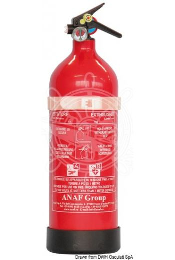 ANF fire extinguisher with AFFF MED type-tested foam (Weight in kg: 2, Extinguishing category: 8A - 70B - 25F, Measures: 380x108)