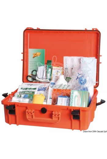 First aid kit, Table A, in IPX7 watertight case.Made in compliance with Ministerial Decree 01/10/2015 in force (Measures: 555x428x211(H))