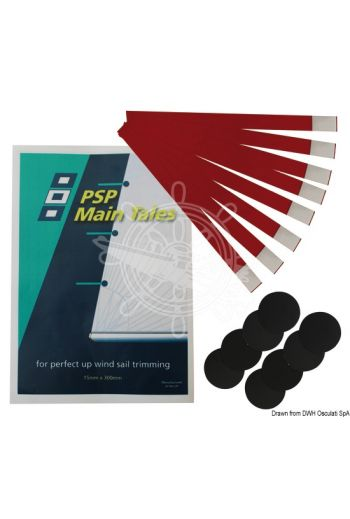 PSP Tell Tales wind indicator strips for sail trimming (Description: Permanent wind indicator strips. Package includes: 8 x 45-mm Ø self-adhesive dacron discs + 8 x 1)
