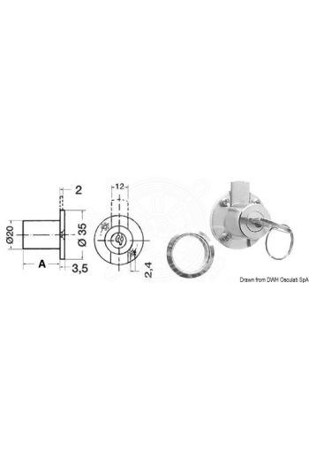 Cylinder lock for drawers (Cylinder length (A) mm: 20, Ø mm: 20)