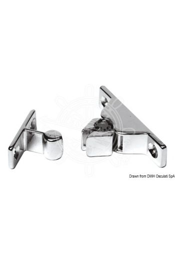 Snap latch made of chromed brass (Description: Snap latch made of chromed brass suitable to lock doors, hatches and others.)