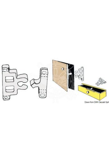 Snap latch (Description: White nylon snap latch for cabinet doors and others uses, PCS: 10)