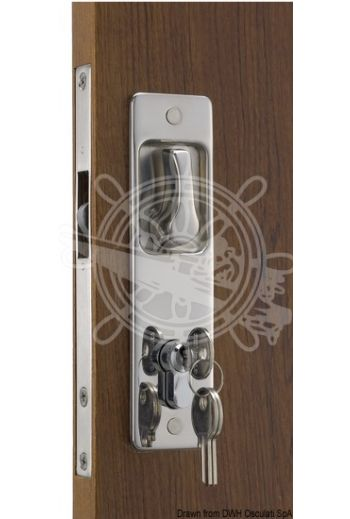 For sliding doors with built-in handle. Yale external key, internal lock