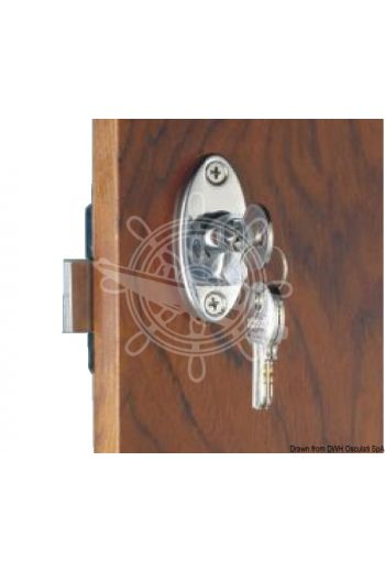 With knob and Yale external key. Knob lock from inside (Size: mm: 90,5x57)