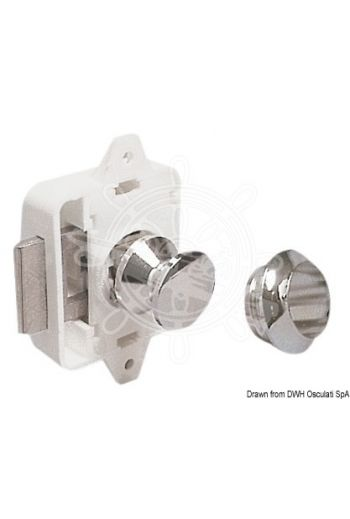 Spring lock for hatches and cabinet doors