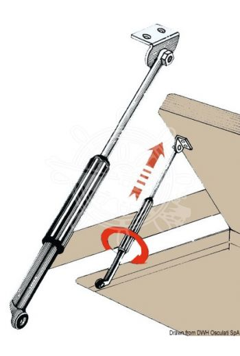 Telescopic hatch stay (Travel mm: 220/480)