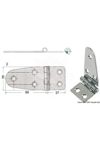 Hinges 2 mm thickness (Measures: 95x39, Type: standard pin)