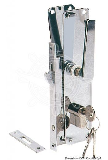 Sliding door locks (Version: Yale lock, Model: With handle, Thickness mm: 15, Frame mm: 160x15, Fitted with two plates mm: 198x45,)