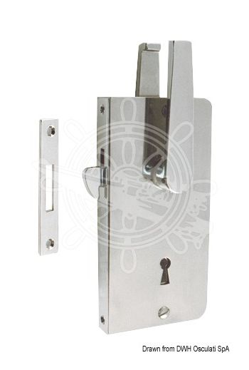 Sliding door locks (Version: Regular key, Model: With handle, Thickness mm: 15, Frame mm: 140x15, Fitted with two plates mm: 133x7)