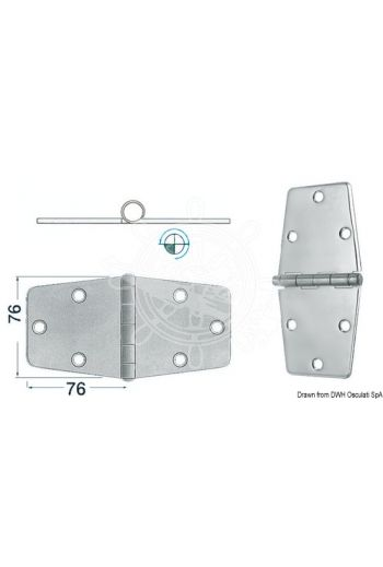 Hinges 2 mm thickness (Measures: 152x76, Type: standard pin)