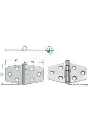 Hinges 2 mm thickness (Measures: 70x38, Type: standard pin)