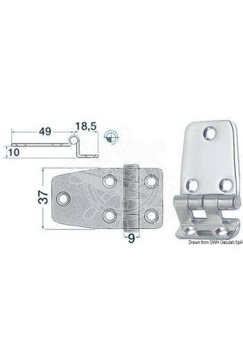 Overhang hinges 2 mm (Measures: 67,5x37)