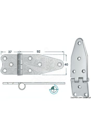 Hinges 2 mm thickness (Measures: 129x40, Type: reversed pin)
