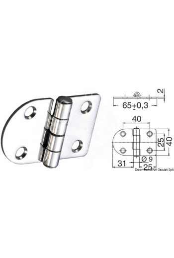 Hinges 2 mm thickness (Measures: 65x40, version: standard pin)
