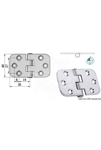 Hinges 2 mm thickness (Measures: 70x39, Type: reversed pin)