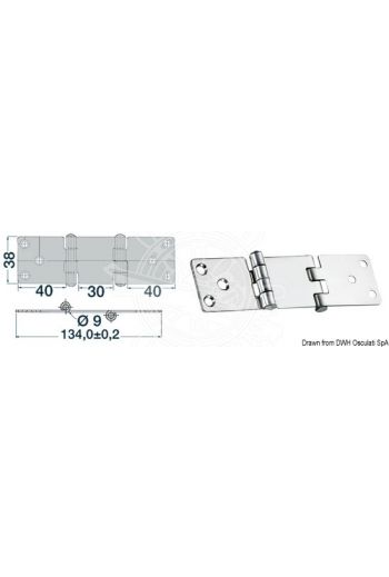 Overhang hinges 2 mm (Measures: 134x38)