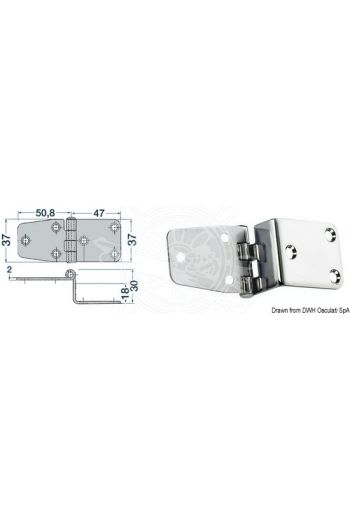 Overhang hinges 2 mm (Measures: 97,8x37)