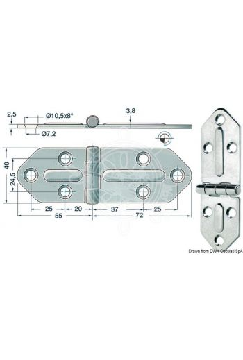 Hinges 2,5 mm (Measures: 127x40, Type: standard pin)