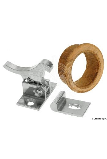 "Chromed-brass spring lock, ""Japan"" product. For several uses, fitted with teak seal."