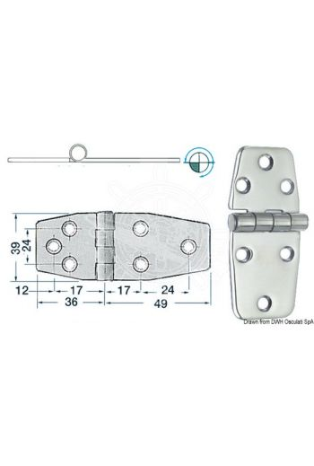 Hinges 2 mm thickness (Measures: 85x39, Type: standard pin)
