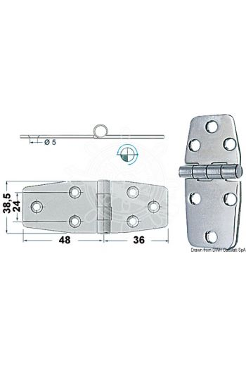 Hinges 2 mm hickness (Measures: 84x38, Type: standard pin)