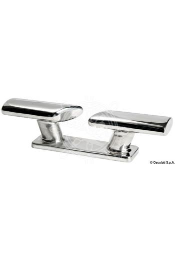 Scandinavian mirror-polished AISI316 starinless steel fairlead/cleat (Length mm: 203, Height mm: 52, Centre distance mm: 76, Stud Ø mm: 10, Mounting: 2 studs)