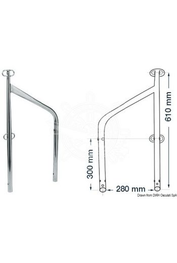 Twin stanchion for external bases (Ø mm: 25 x 1,5, height mm: 610)