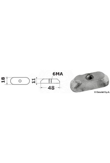 Plate anode for 6/15 HP 4 strokes with M6 thread. (Original ref.: 41811-98500)