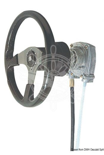 "Non reversible rotary steering system T 73 (Description: ""T 73"" control box only, M66 cable only: 45.185.xx *, Cover - 90°: 45.055.02, Cover - 20°: 45.055)"