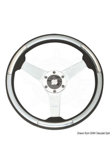 "ULTRAFLEX ""Ponza/Linosa""steering wheels (Ø mm: 350, Crown: Black, Spokes: Silver, Inserts: Silver)"