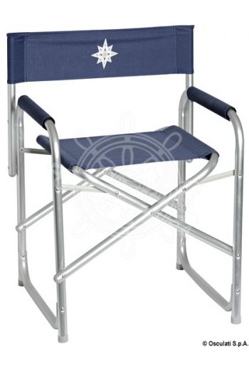 Anodized aluminium Director's folding chair (Model: Director's chair, Fabric colour: Blue, Measures: 60x48x79H, Measures: 17x48x79H)
