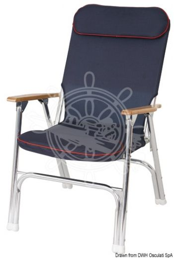Anodized aluminium folding padded chair (Model: Super-deck, Fabric colour: Navy blue, Measures: 60x43x90 h cm)