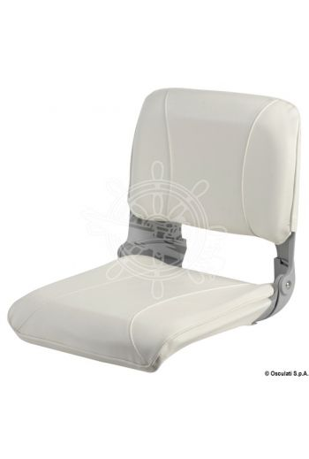 Seat with foldable backrest and pull-out padding