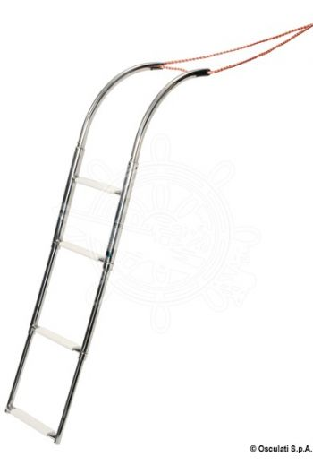 4-step rubber dinghy ladder, universal size, telescopic and fitted with foldable side rails (Length mm - when extended: 1200, Length mm - when retracted: 700, Width mm - when extended: 267, Width mm - wh)