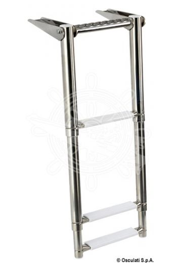Gangplank telescopic ladder with built-in handle