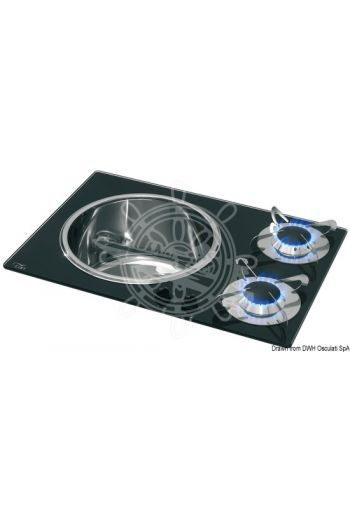 Crystal glass worktop with hobs + Stainless Steel sink (No of burners: 2, Burners W: 2x1750, Measures: 600x420X47 (overhang), Measures: 47 (sporgenza), Tap included: )
