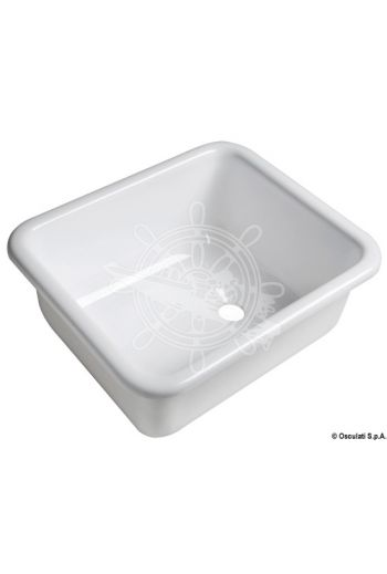 Rectangular sink made of white polished plexiglas (Measures: 330x280x140, Drain OPTIONAL: 50.170.41; 50.270.41)