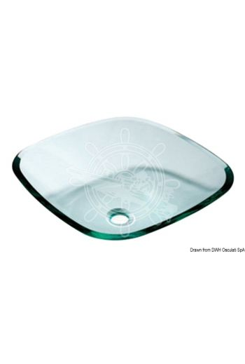 Square sink with rounded edges, clear glass (Measures: 420x420x138 mm)