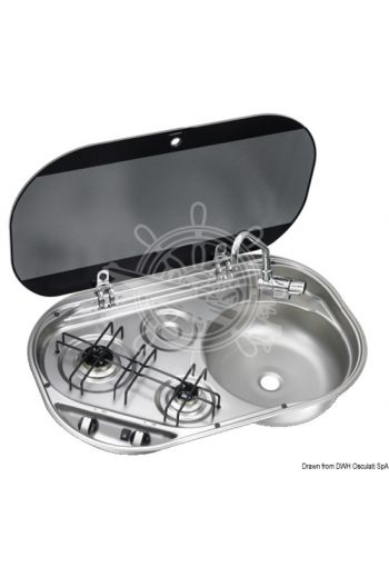SMEV/DOMETIC hob unit with tinted glass lid (NEW,, Version: CRAMER, With sink: RIGHT, No of burners: 2, Burners W: 1100+1800, Measures: 680x440x142 mm, Mea)