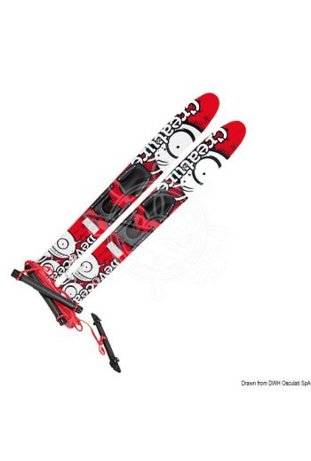 "DEVOCEAN Creature Trainer water skis made of treated wood (Color: Red, Measures: 117 (45"") mm, Suitable for: Kids)"