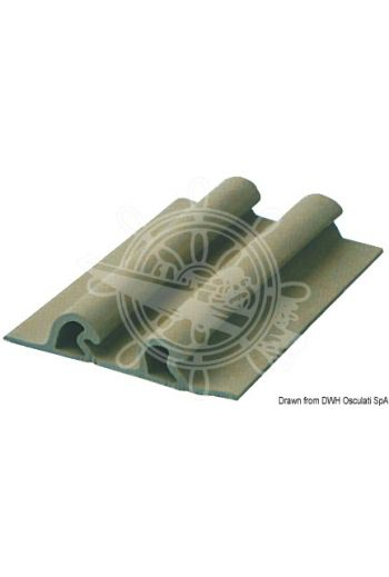EPDM Double Tear drop Rubbing Strake (Section mm: 115x21.4, Colour: Grey, Roll m: 24)