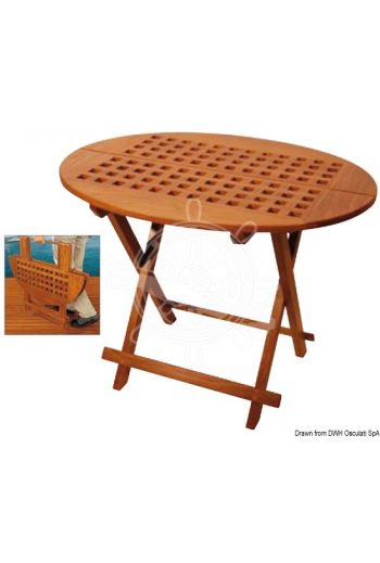 ARC oval tip-top table made of real teak (Measures: 80x65x57, Folded cm: 80x65x7)