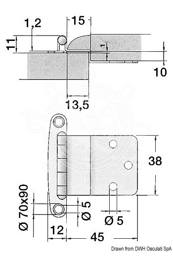 Stainless steel hatch hinges