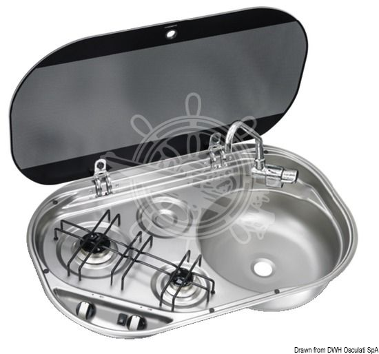 SMEV/DOMETIC hob unit with tinted glass lid (NEW,, Version: CRAMER, With  sink: RIGHT, No of burners: 2, Burners W: 1100+1800, Measures: 680x440x142